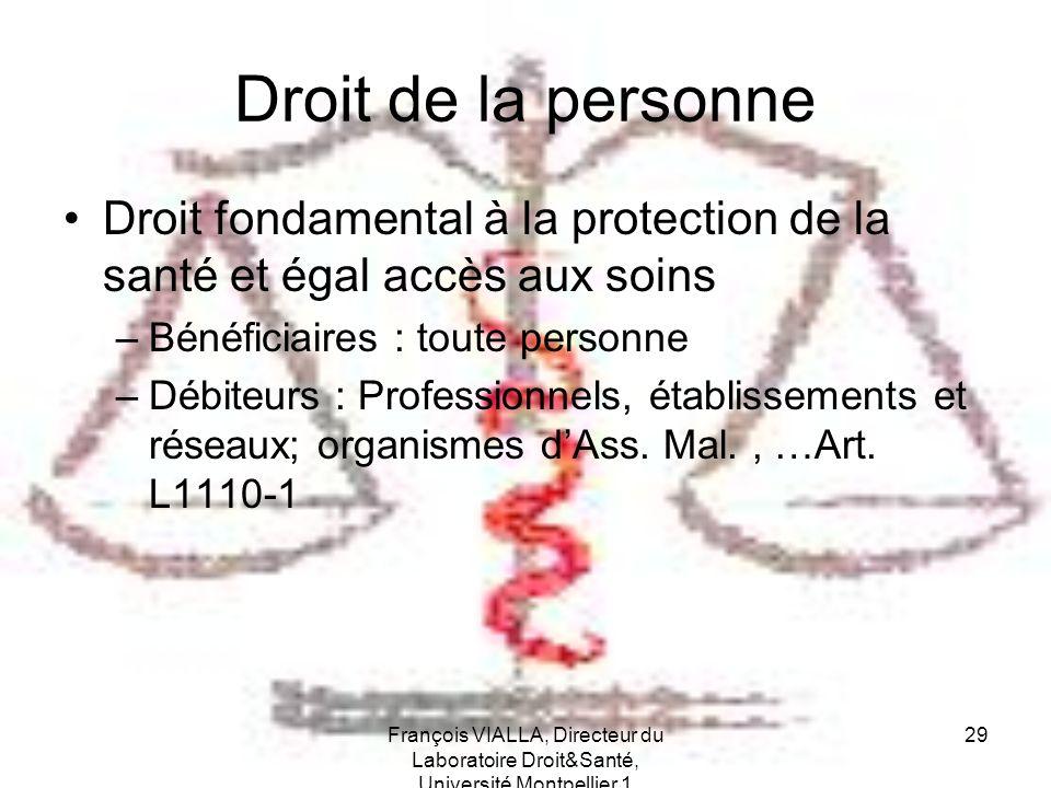 François VIALLA, Directeur du Laboratoire Droit&Santé, Université Montpellier 1 29 Droit de la personne Droit fondamental à la protection de la santé