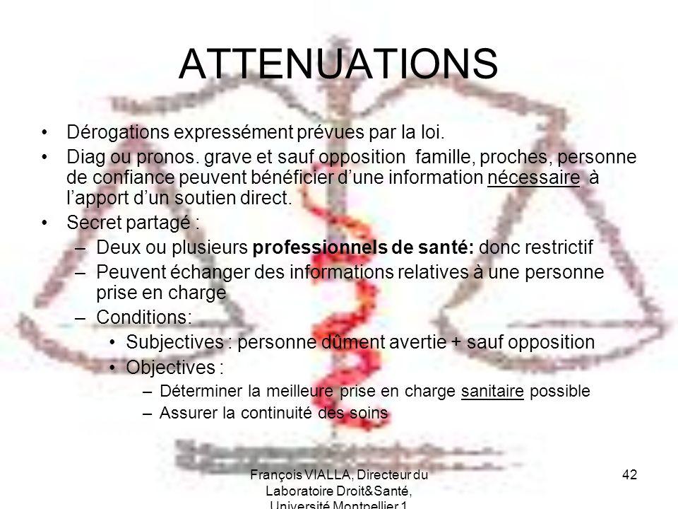 François VIALLA, Directeur du Laboratoire Droit&Santé, Université Montpellier 1 42 ATTENUATIONS Dérogations expressément prévues par la loi. Diag ou p