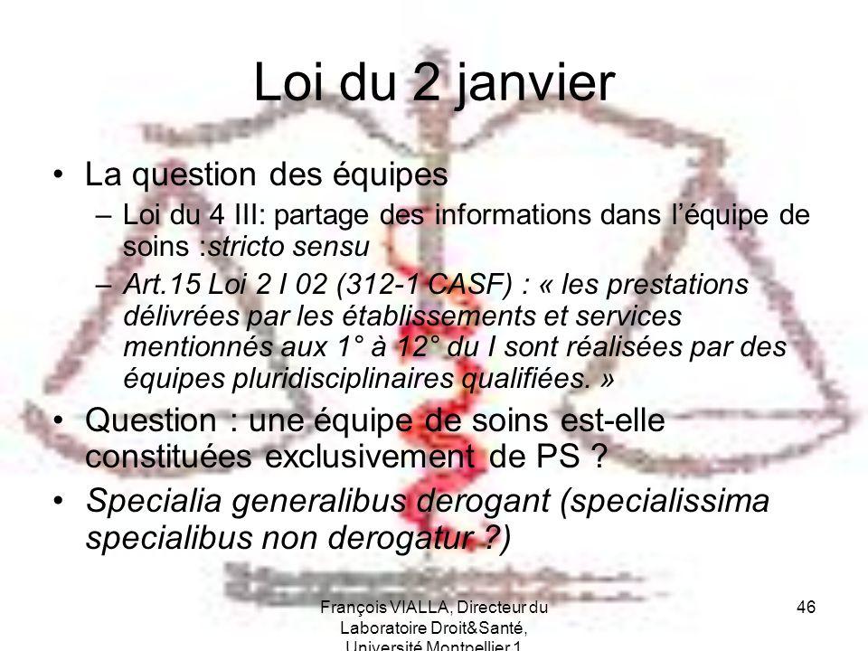 François VIALLA, Directeur du Laboratoire Droit&Santé, Université Montpellier 1 46 Loi du 2 janvier La question des équipes –Loi du 4 III: partage des