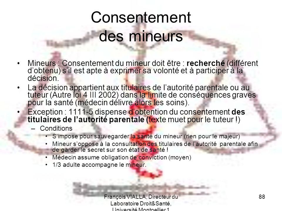 François VIALLA, Directeur du Laboratoire Droit&Santé, Université Montpellier 1 88 Consentement des mineurs Mineurs : Consentement du mineur doit être
