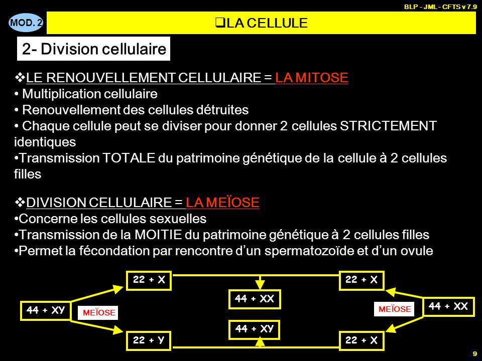MOD. 2 BLP - JML - CFTS v 7.9 9 LE RENOUVELLEMENT CELLULAIRE = LA MITOSE Multiplication cellulaire Renouvellement des cellules d é truites Chaque cell