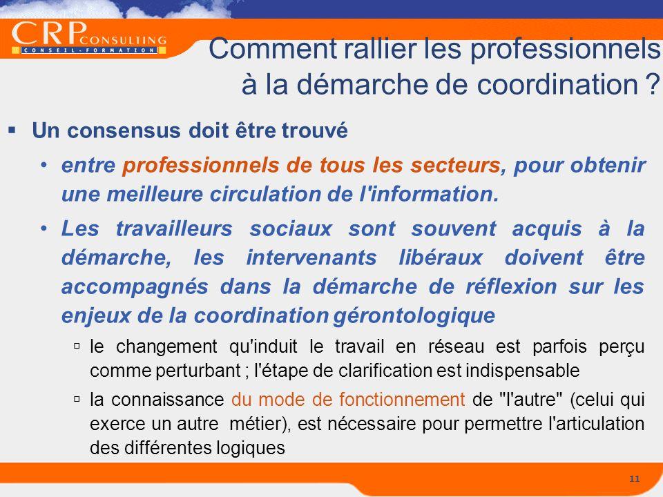 11 Comment rallier les professionnels à la démarche de coordination ? Un consensus doit être trouvé entre professionnels de tous les secteurs, pour ob