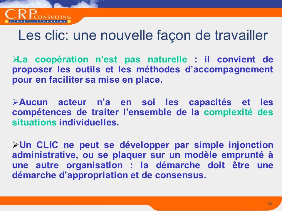 15 Les clic: une nouvelle façon de travailler La coopération nest pas naturelle : il convient de proposer les outils et les méthodes daccompagnement p