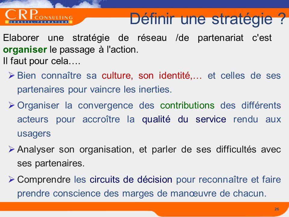 26 Définir une stratégie ? Elaborer une stratégie de réseau /de partenariat c'est organiser le passage à l'action. Il faut pour cela…. Bien connaître