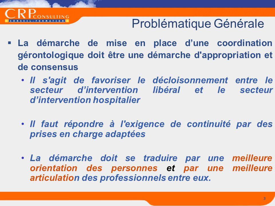 3 Problématique Générale La démarche de mise en place dune coordination gérontologique doit être une démarche d'appropriation et de consensus Il s'agi