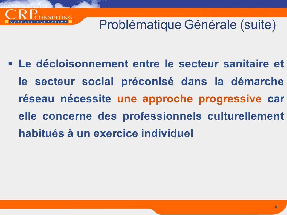 4 Problématique Générale (suite) Le décloisonnement entre le secteur sanitaire et le secteur social préconisé dans la démarche réseau nécessite une ap