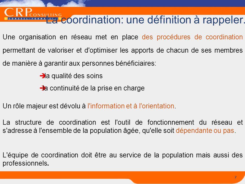7 La coordination: une définition à rappeler... Une organisation en réseau met en place des procédures de coordination permettant de valoriser et d'op