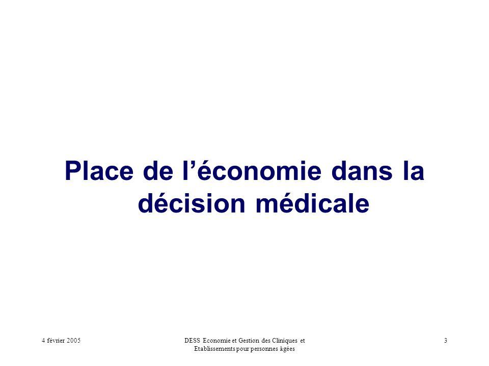 4 février 2005DESS Economie et Gestion des Cliniques et Etablissements pour personnes âgées 3 Place de léconomie dans la décision médicale