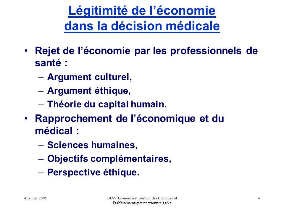 4 février 2005DESS Economie et Gestion des Cliniques et Etablissements pour personnes âgées 4 Légitimité de léconomie dans la décision médicale Rejet de léconomie par les professionnels de santé : –Argument culturel, –Argument éthique, –Théorie du capital humain.