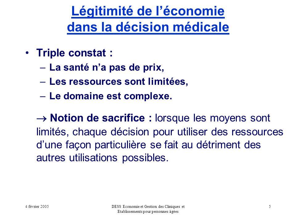 4 février 2005DESS Economie et Gestion des Cliniques et Etablissements pour personnes âgées 5 Légitimité de léconomie dans la décision médicale Triple constat : –La santé na pas de prix, –Les ressources sont limitées, –Le domaine est complexe.