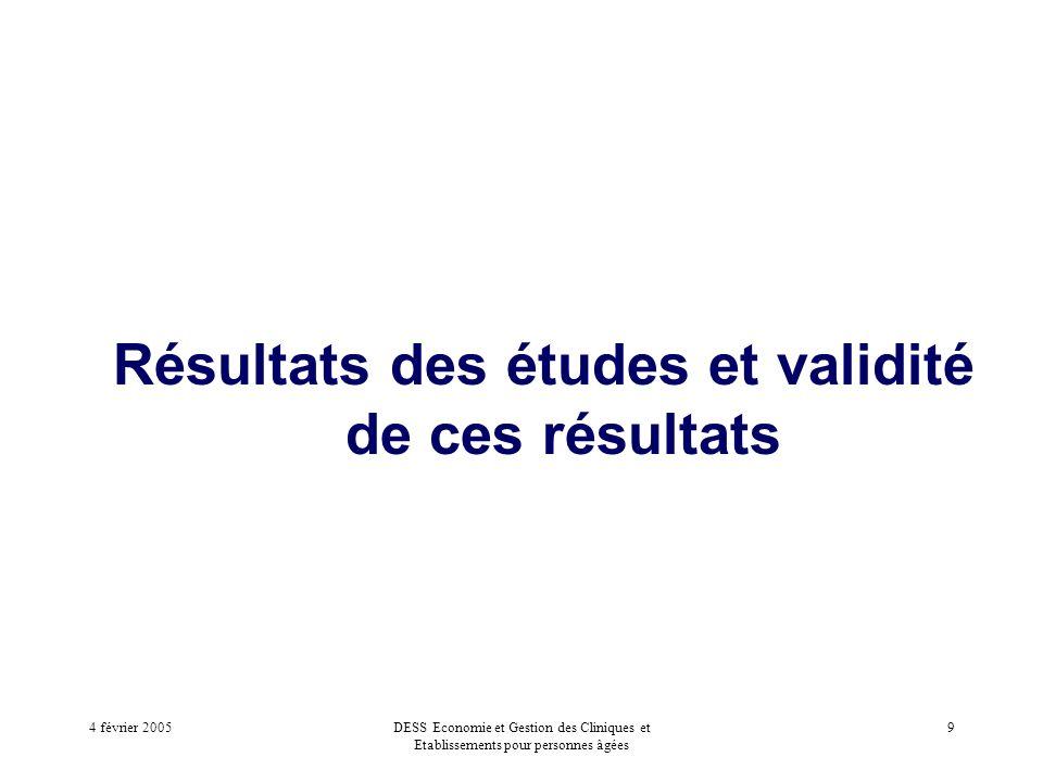 4 février 2005DESS Economie et Gestion des Cliniques et Etablissements pour personnes âgées 9 Résultats des études et validité de ces résultats