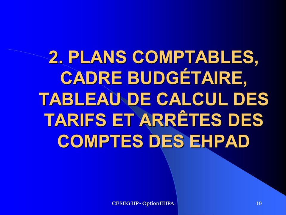 CESEG HP - Option EHPA10 2. PLANS COMPTABLES, CADRE BUDGÉTAIRE, TABLEAU DE CALCUL DES TARIFS ET ARRÊTES DES COMPTES DES EHPAD