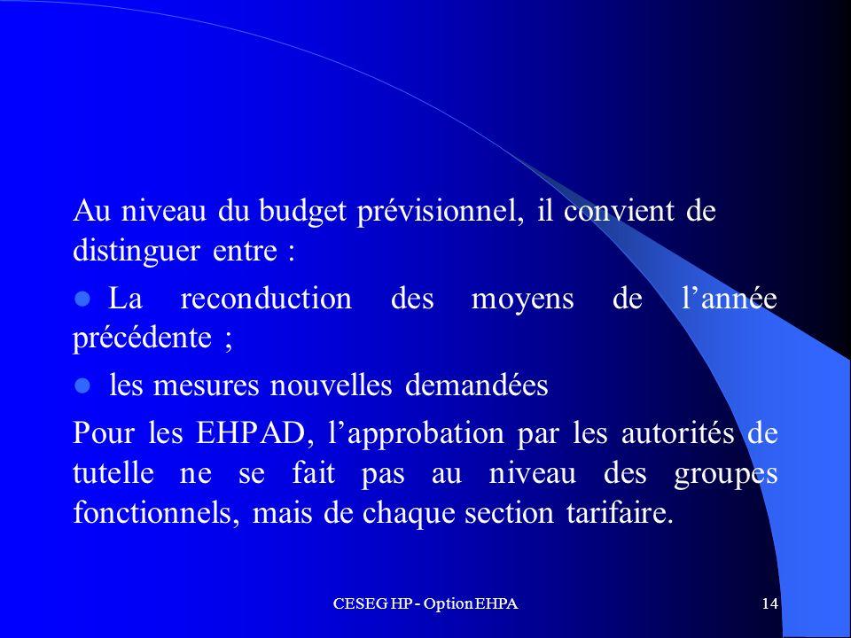 CESEG HP - Option EHPA14 Au niveau du budget prévisionnel, il convient de distinguer entre : La reconduction des moyens de lannée précédente ; les mes