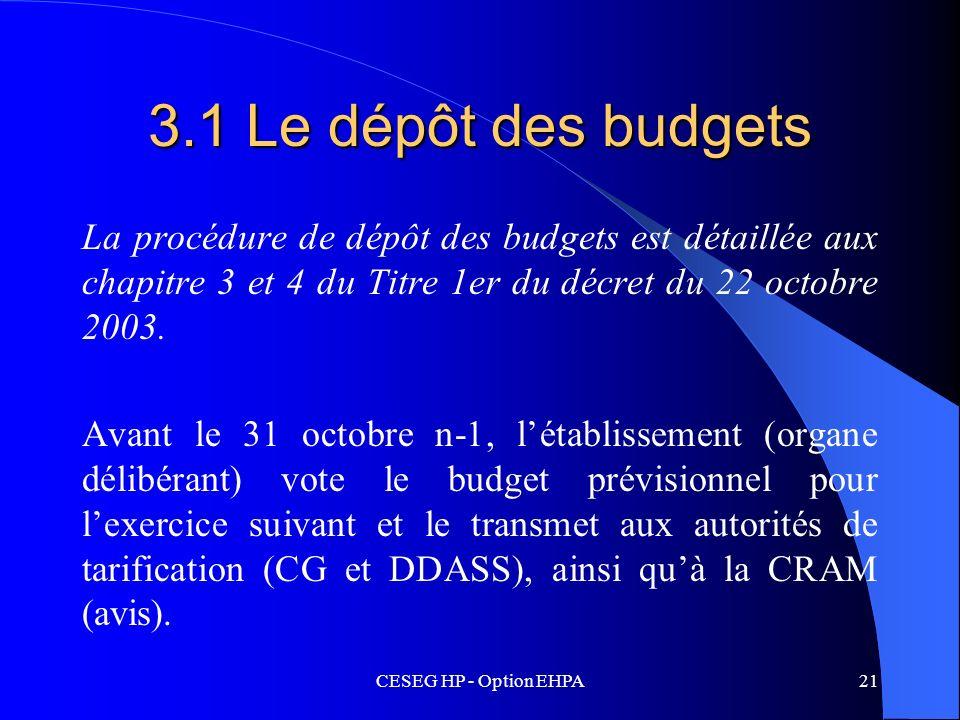 CESEG HP - Option EHPA21 3.1 Le dépôt des budgets La procédure de dépôt des budgets est détaillée aux chapitre 3 et 4 du Titre 1er du décret du 22 oct