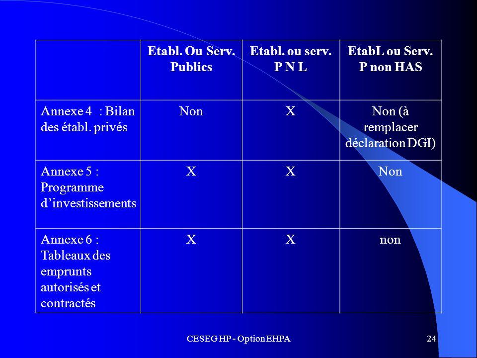 CESEG HP - Option EHPA24 Etabl. Ou Serv. Publics Etabl. ou serv. P N L EtabL ou Serv. P non HAS Annexe 4 : Bilan des établ. privés NonXNon (à remplace