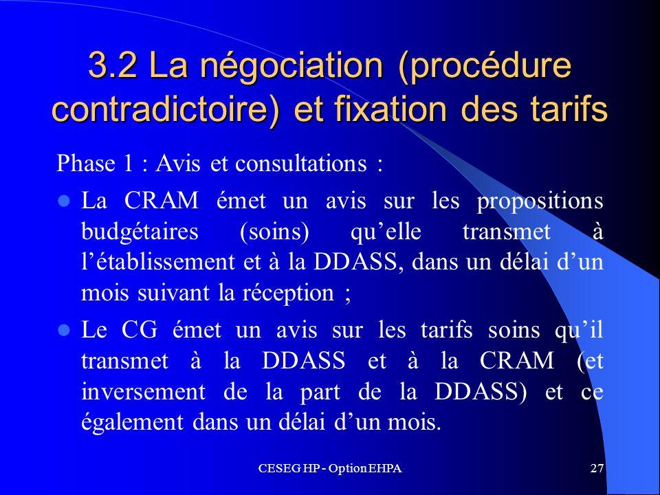 CESEG HP - Option EHPA27 3.2 La négociation (procédure contradictoire) et fixation des tarifs Phase 1 : Avis et consultations : La CRAM émet un avis s