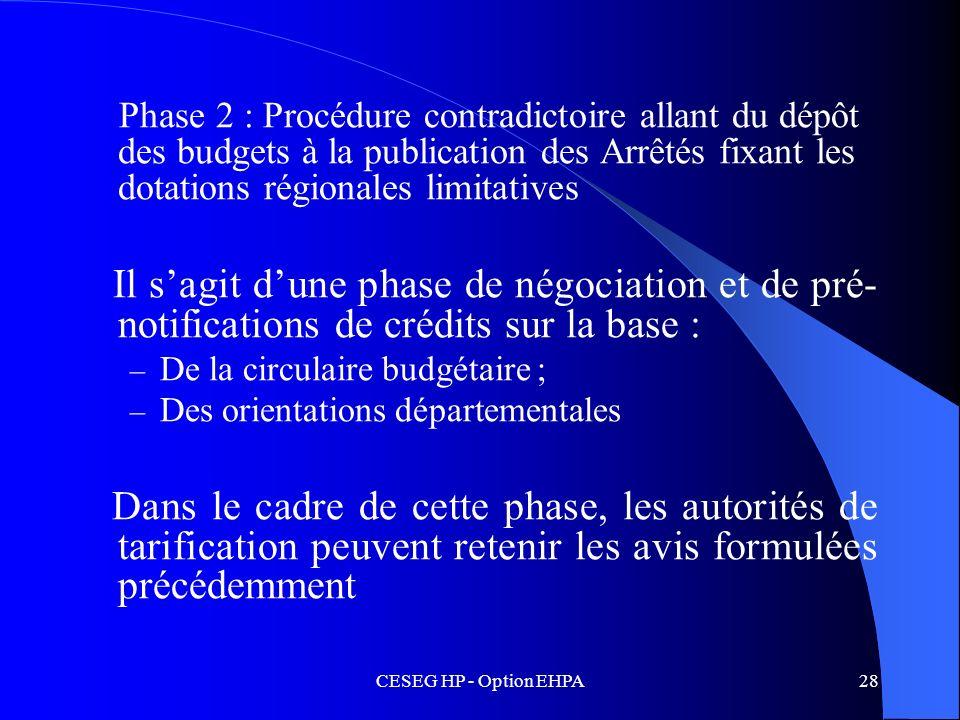 CESEG HP - Option EHPA28 Phase 2 : Procédure contradictoire allant du dépôt des budgets à la publication des Arrêtés fixant les dotations régionales l