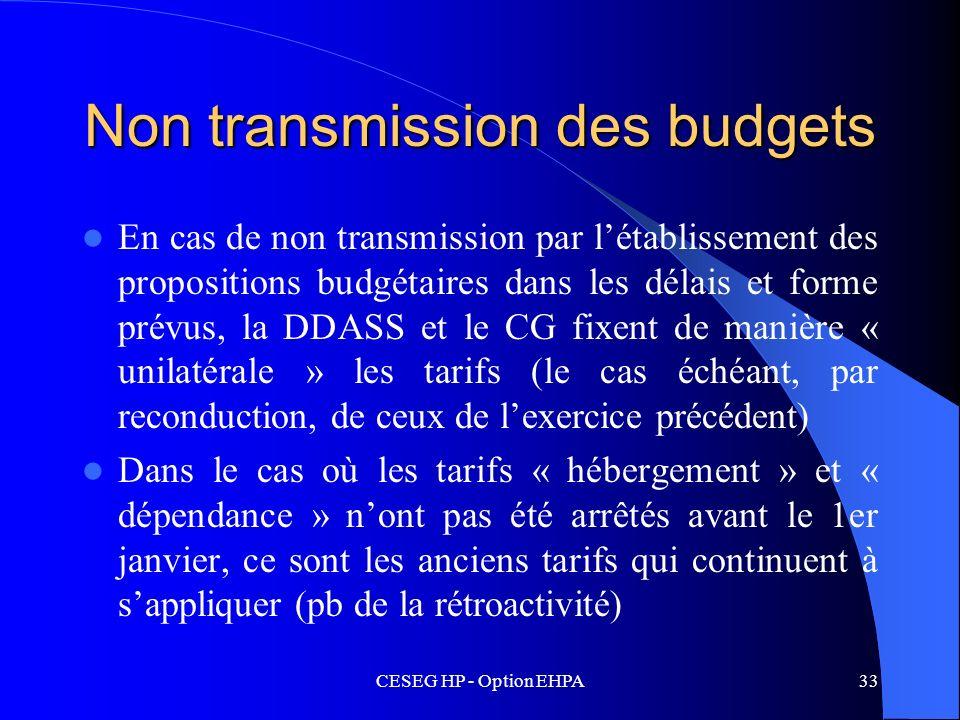 CESEG HP - Option EHPA33 Non transmission des budgets En cas de non transmission par létablissement des propositions budgétaires dans les délais et fo