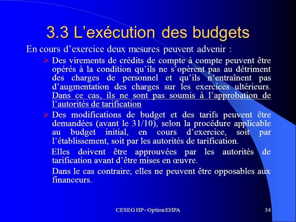 CESEG HP - Option EHPA34 3.3 Lexécution des budgets En cours dexercice deux mesures peuvent advenir : Des virements de crédits de compte à compte peuv