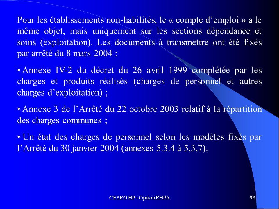 CESEG HP - Option EHPA38 Pour les établissements non-habilités, le « compte demploi » a le même objet, mais uniquement sur les sections dépendance et