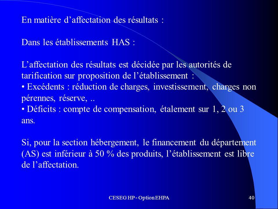 CESEG HP - Option EHPA40 En matière daffectation des résultats : Dans les établissements HAS : Laffectation des résultats est décidée par les autorité