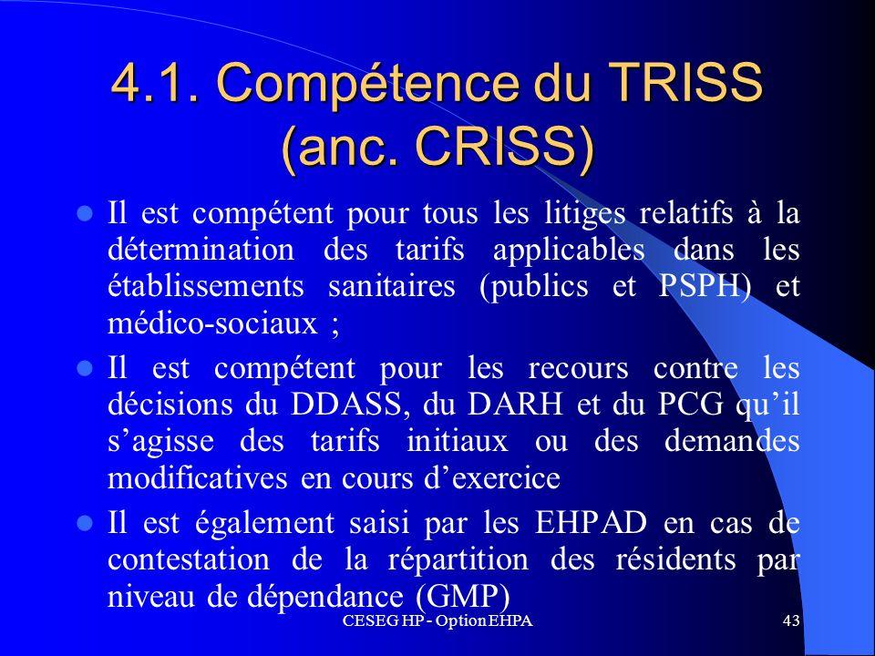 CESEG HP - Option EHPA43 4.1. Compétence du TRISS (anc. CRISS) Il est compétent pour tous les litiges relatifs à la détermination des tarifs applicabl