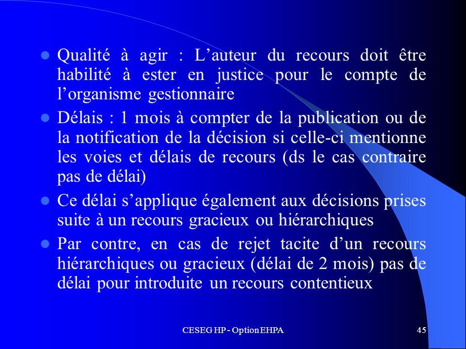 CESEG HP - Option EHPA45 Qualité à agir : Lauteur du recours doit être habilité à ester en justice pour le compte de lorganisme gestionnaire Délais :