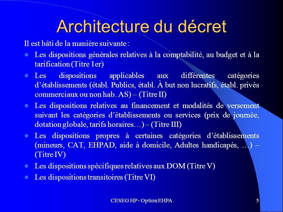 CESEG HP - Option EHPA5 Architecture du décret Il est bâti de la manière suivante : Les dispositions générales relatives à la comptabilité, au budget