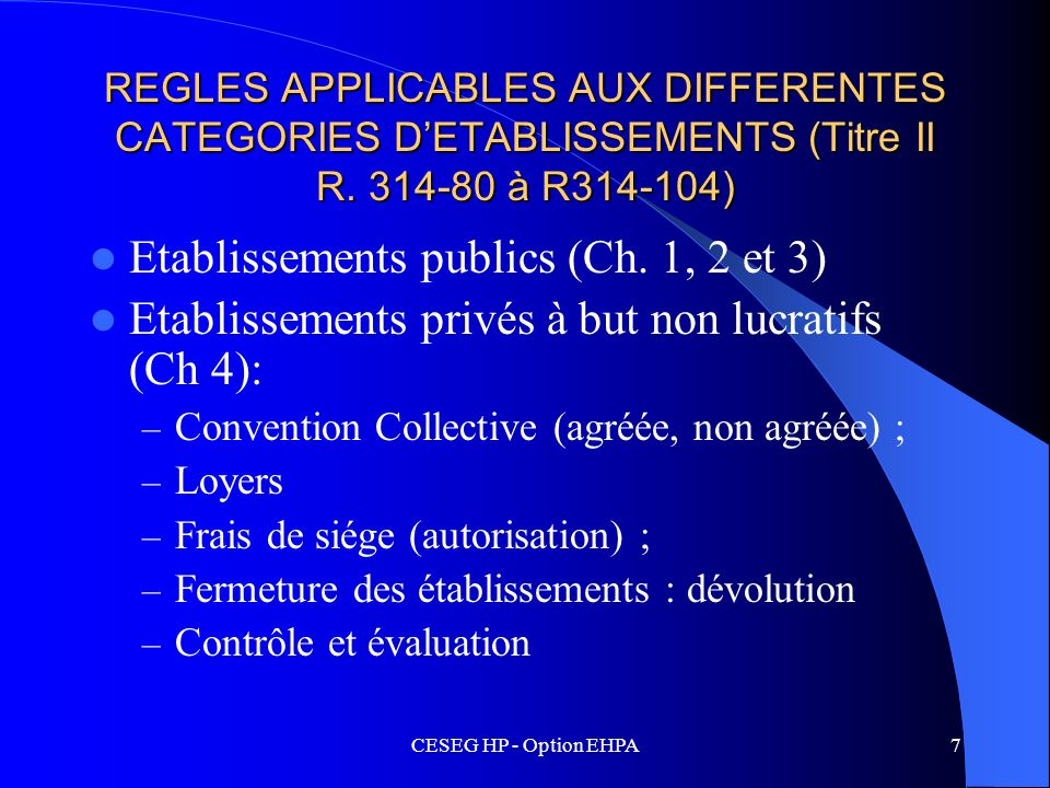 CESEG HP - Option EHPA7 REGLES APPLICABLES AUX DIFFERENTES CATEGORIES DETABLISSEMENTS (Titre II R. 314-80 à R314-104) Etablissements publics (Ch. 1, 2