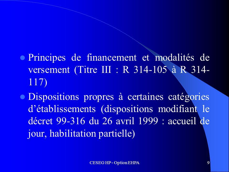 CESEG HP - Option EHPA9 Principes de financement et modalités de versement (Titre III : R 314-105 à R 314- 117) Dispositions propres à certaines catég