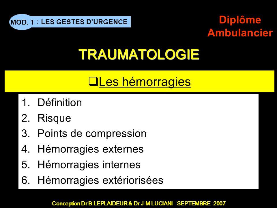 Conception Dr B LEPLAIDEUR & Dr J-M LUCIANI SEPTEMBRE 2007 : LES GESTES DURGENCE MOD. 1 Diplôme Ambulancier TITRE DE CHAPITRE TRAUMATOLOGIE Les hémorr