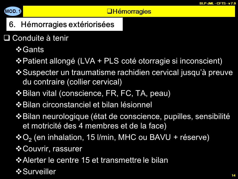 MOD. 1 BLP-JML - CFTS - v 7.9 14 Conduite à tenir Gants Patient allongé (LVA + PLS coté otorragie si inconscient) Suspecter un traumatisme rachidien c