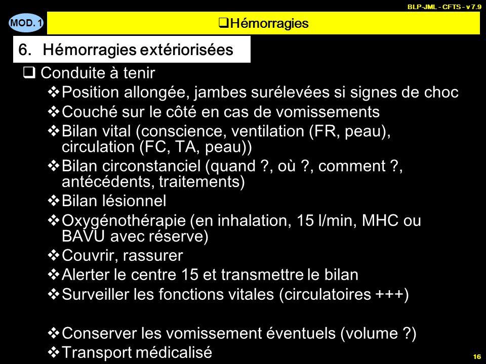 MOD. 1 BLP-JML - CFTS - v 7.9 16 Conduite à tenir Position allongée, jambes surélevées si signes de choc Couché sur le côté en cas de vomissements Bil