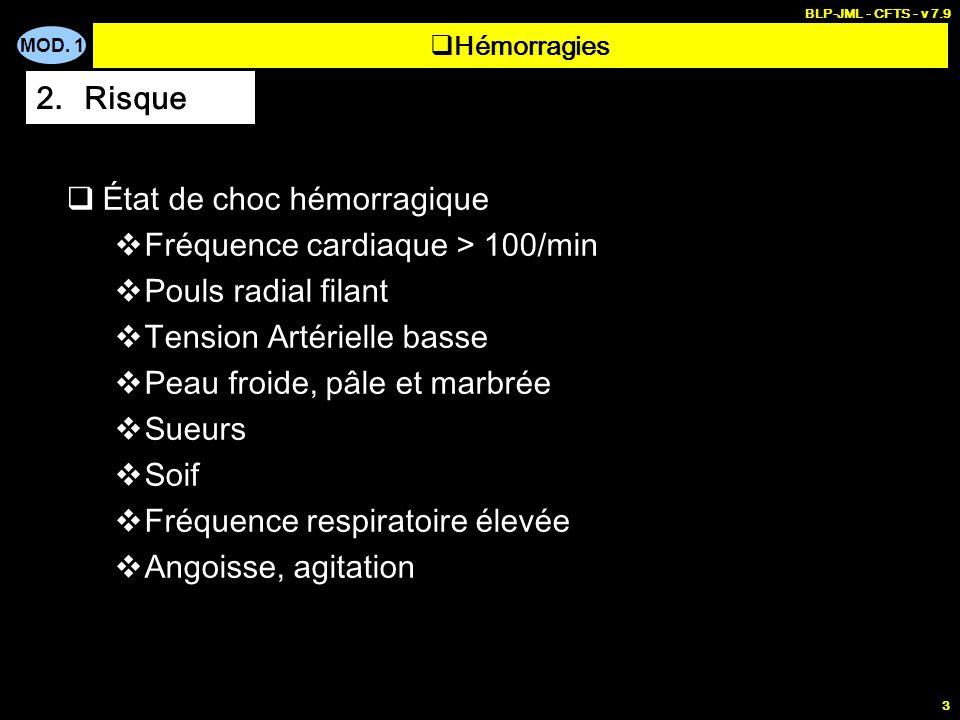MOD. 1 BLP-JML - CFTS - v 7.9 3 État de choc hémorragique Fréquence cardiaque > 100/min Pouls radial filant Tension Artérielle basse Peau froide, pâle