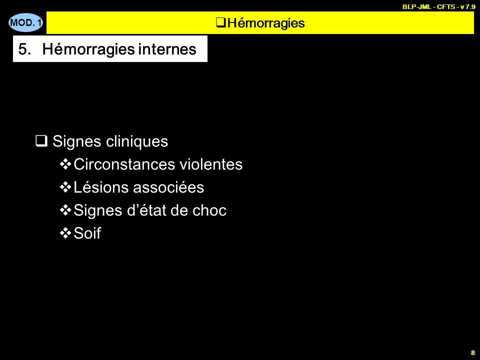 MOD. 1 BLP-JML - CFTS - v 7.9 8 Signes cliniques Circonstances violentes Lésions associées Signes détat de choc Soif Hémorragies 5.Hémorragies interne