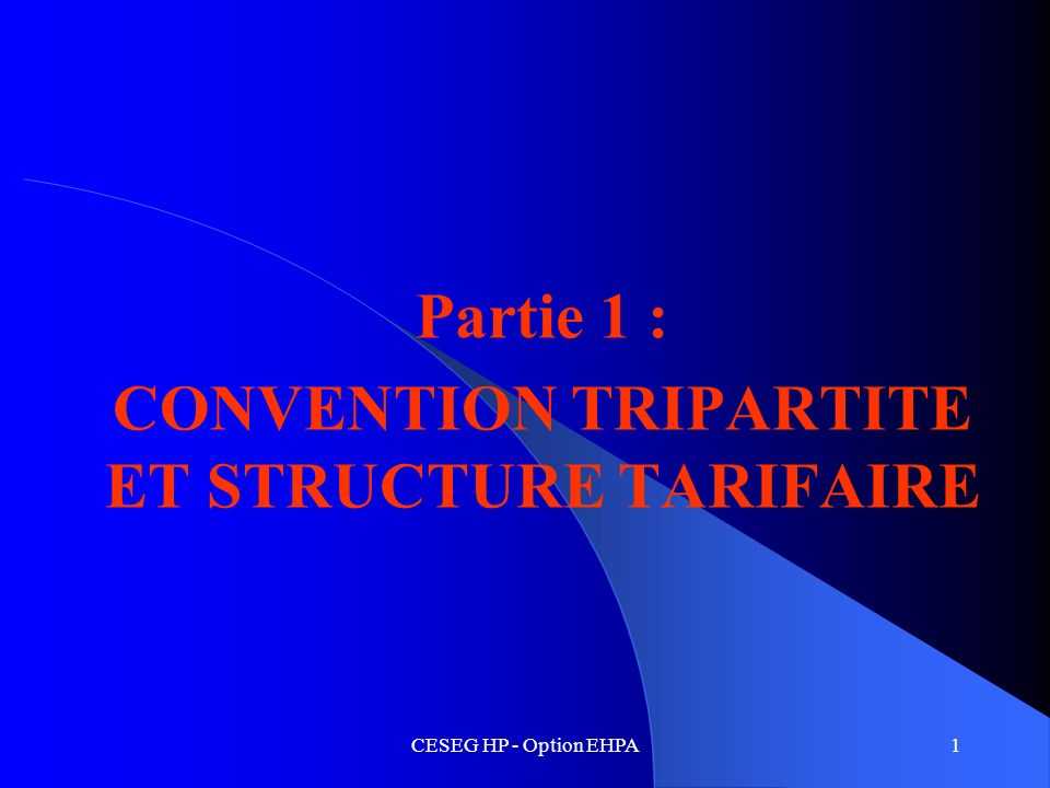 CESEG HP - Option EHPA1 Partie 1 : CONVENTION TRIPARTITE ET STRUCTURE TARIFAIRE