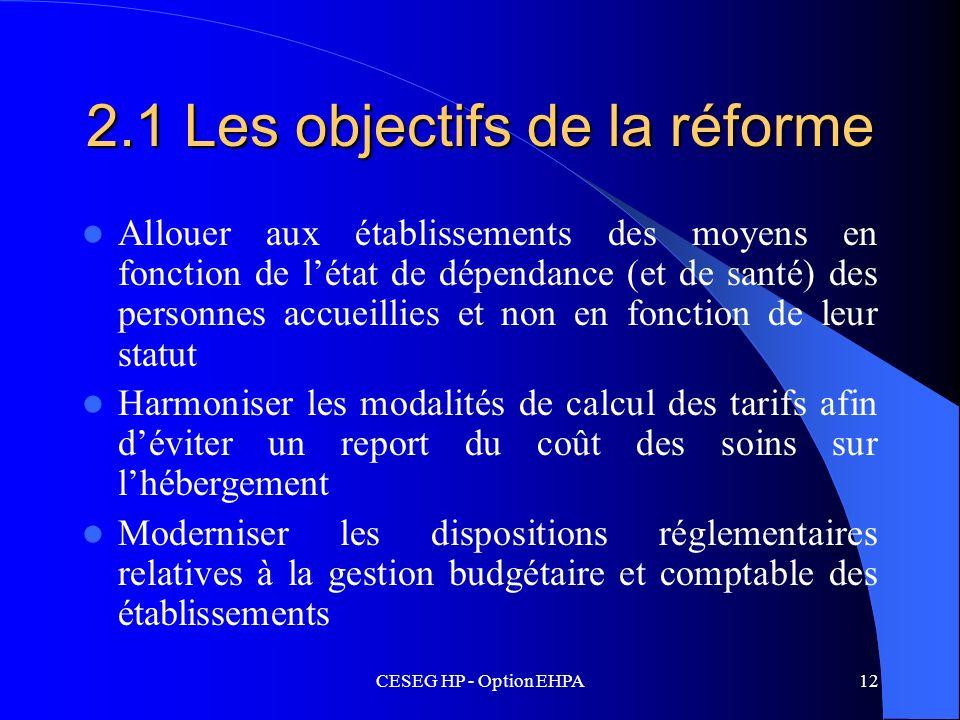CESEG HP - Option EHPA12 2.1 Les objectifs de la réforme Allouer aux établissements des moyens en fonction de létat de dépendance (et de santé) des pe