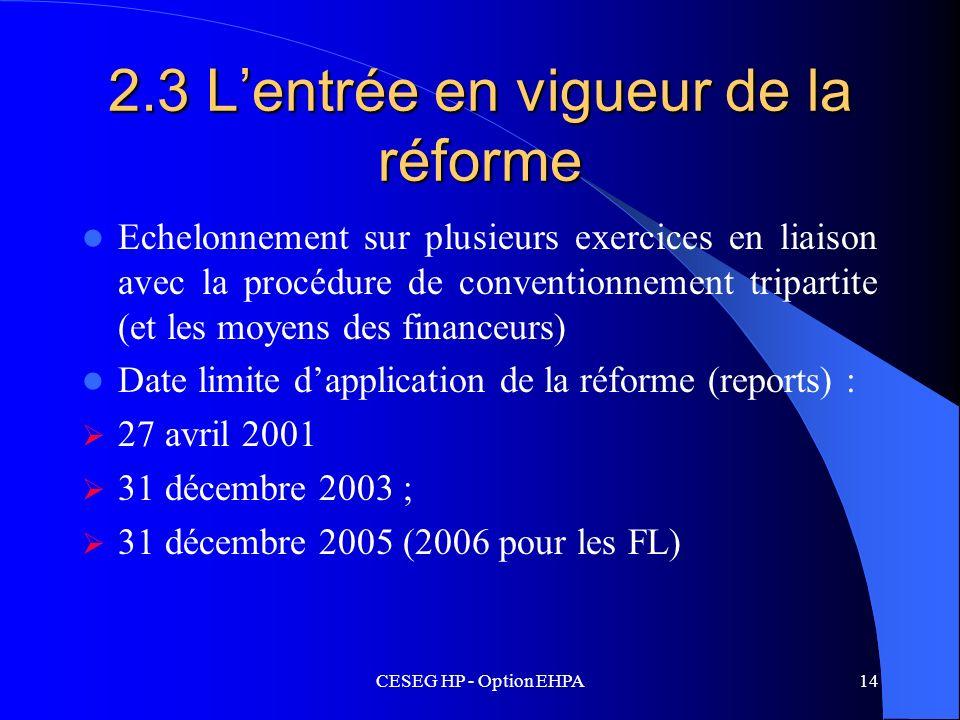 CESEG HP - Option EHPA14 2.3 Lentrée en vigueur de la réforme Echelonnement sur plusieurs exercices en liaison avec la procédure de conventionnement t