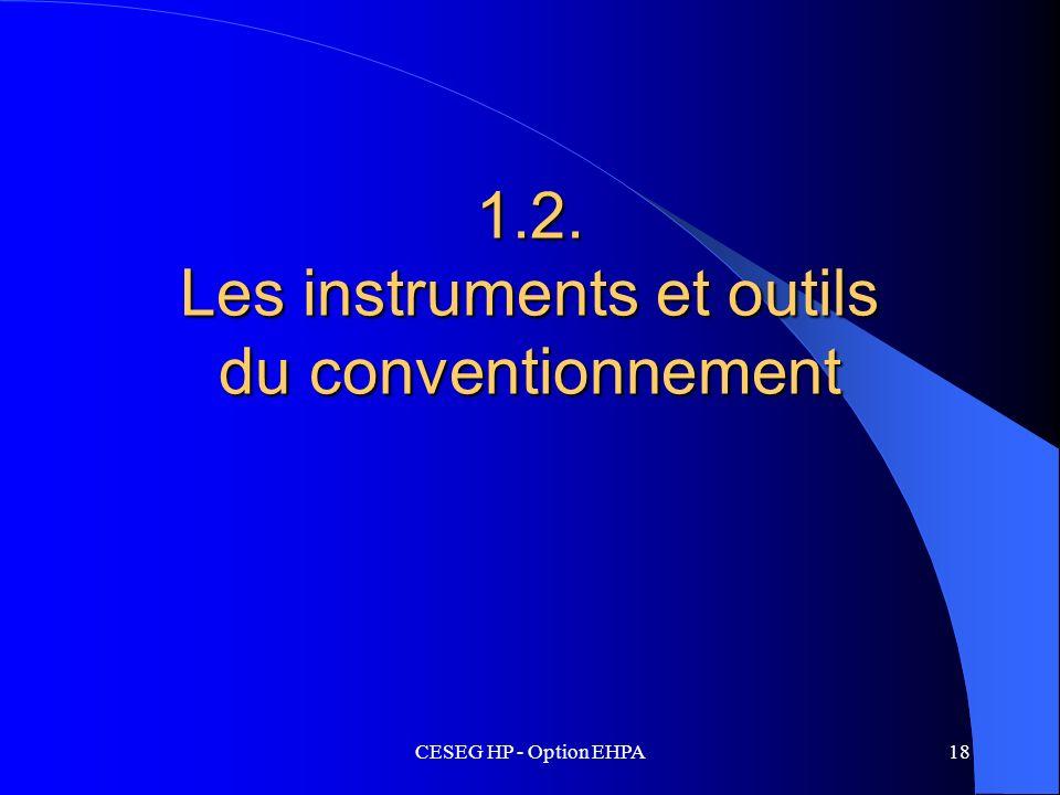 CESEG HP - Option EHPA18 1.2. Les instruments et outils du conventionnement