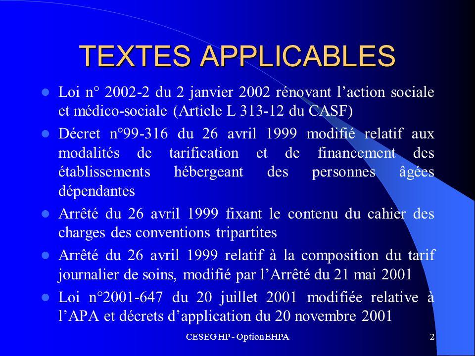 CESEG HP - Option EHPA2 TEXTES APPLICABLES Loi n° 2002-2 du 2 janvier 2002 rénovant laction sociale et médico-sociale (Article L 313-12 du CASF) Décre