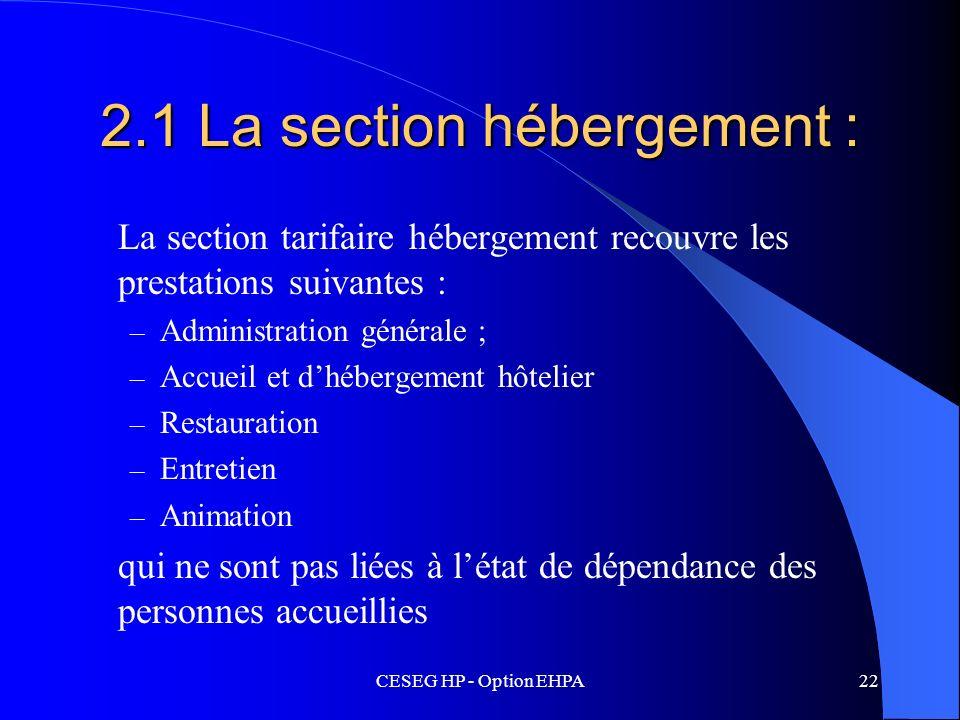 CESEG HP - Option EHPA22 2.1 La section hébergement : La section tarifaire hébergement recouvre les prestations suivantes : – Administration générale