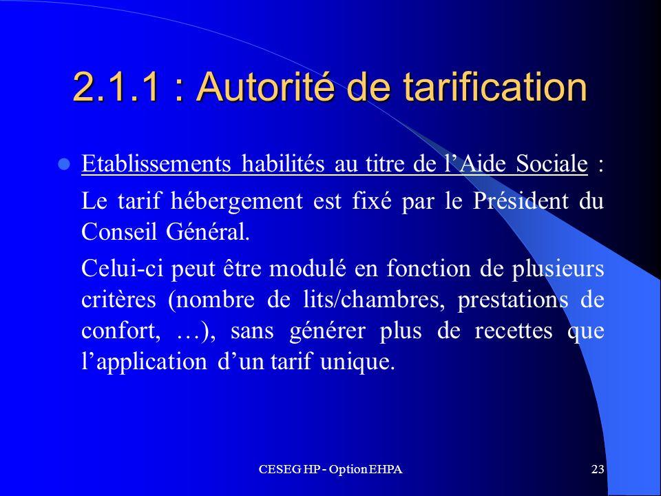 CESEG HP - Option EHPA23 2.1.1 : Autorité de tarification Etablissements habilités au titre de lAide Sociale : Le tarif hébergement est fixé par le Pr