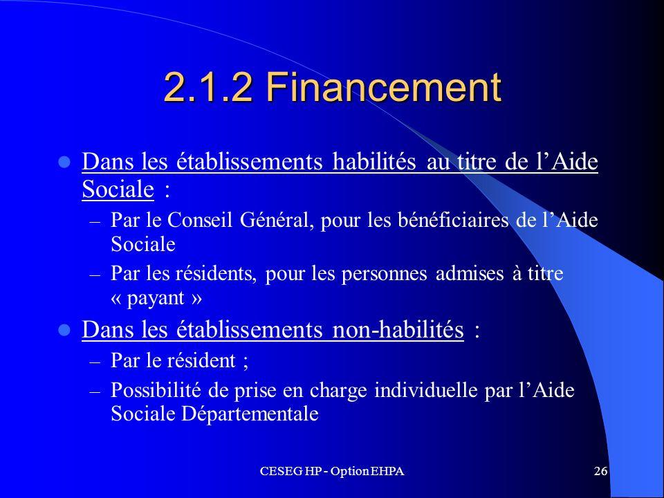 CESEG HP - Option EHPA26 2.1.2 Financement Dans les établissements habilités au titre de lAide Sociale : – Par le Conseil Général, pour les bénéficiai