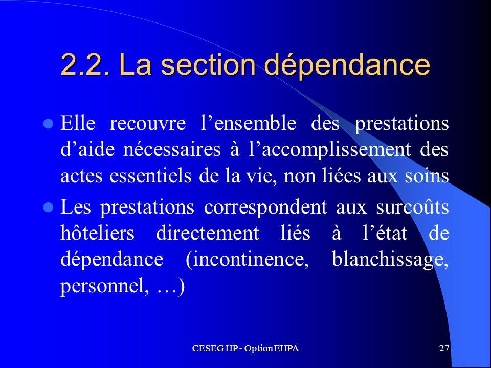 CESEG HP - Option EHPA27 2.2. La section dépendance Elle recouvre lensemble des prestations daide nécessaires à laccomplissement des actes essentiels