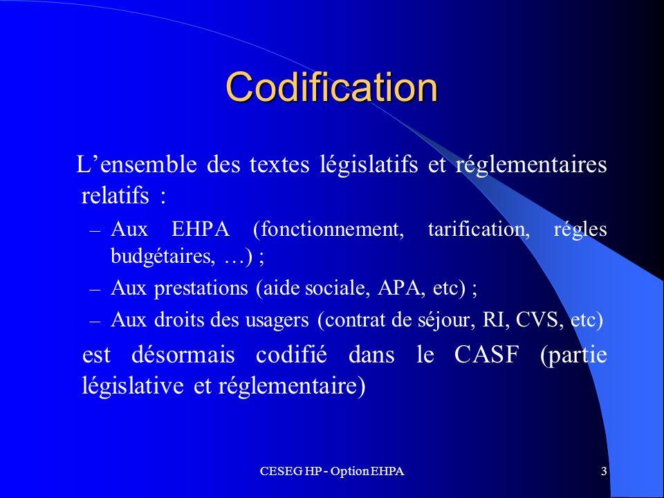 CESEG HP - Option EHPA3 Codification Lensemble des textes législatifs et réglementaires relatifs : – Aux EHPA (fonctionnement, tarification, régles bu