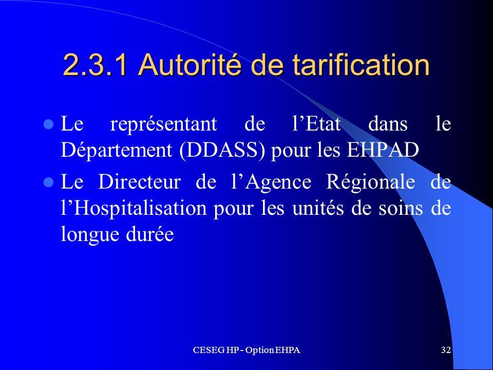 CESEG HP - Option EHPA32 2.3.1 Autorité de tarification Le représentant de lEtat dans le Département (DDASS) pour les EHPAD Le Directeur de lAgence Ré