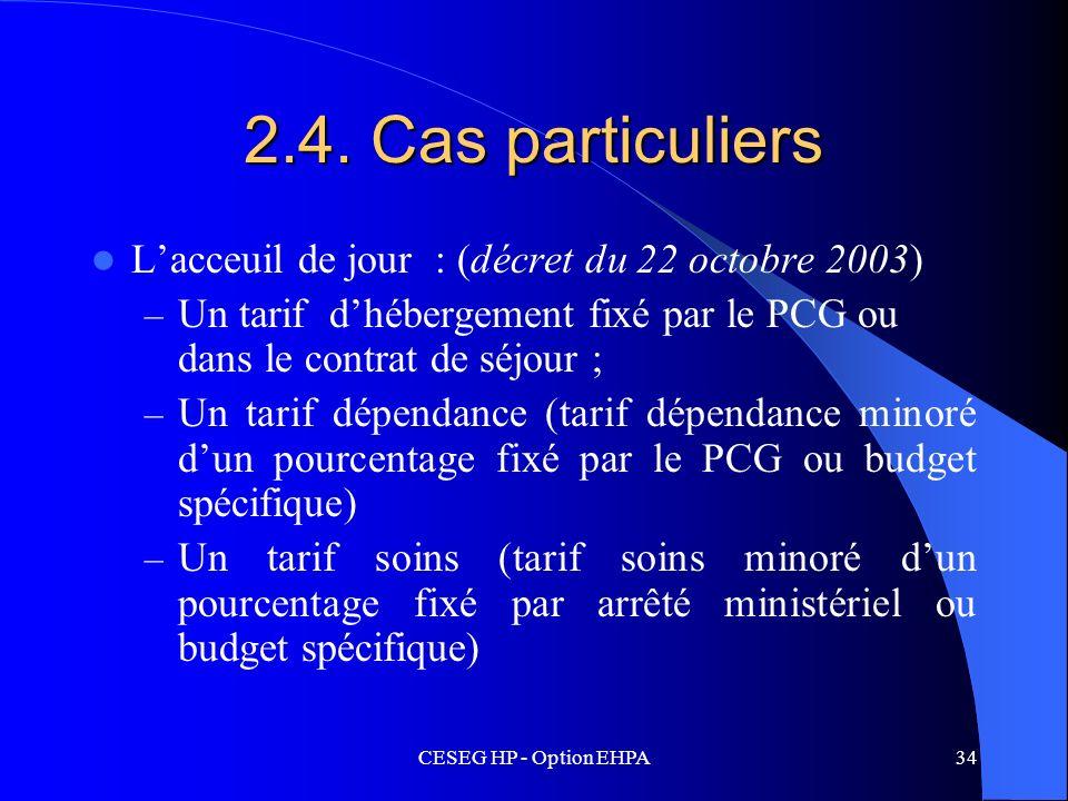 CESEG HP - Option EHPA34 2.4. Cas particuliers Lacceuil de jour : (décret du 22 octobre 2003) – Un tarif dhébergement fixé par le PCG ou dans le contr