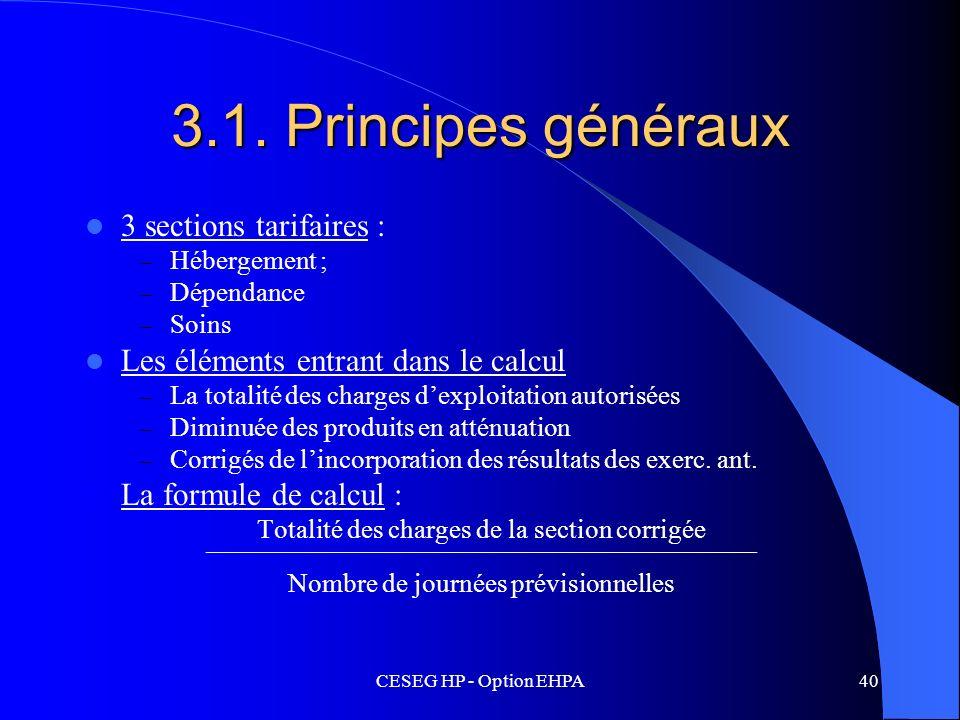 CESEG HP - Option EHPA40 3.1. Principes généraux 3 sections tarifaires : – Hébergement ; – Dépendance – Soins Les éléments entrant dans le calcul – La