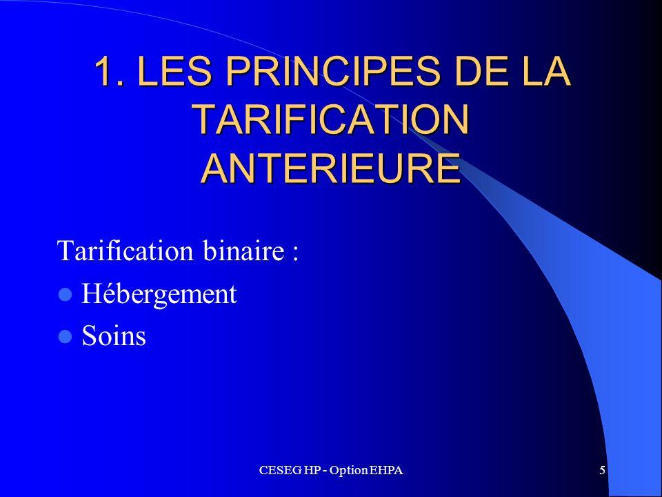CESEG HP - Option EHPA5 1. LES PRINCIPES DE LA TARIFICATION ANTERIEURE Tarification binaire : Hébergement Soins