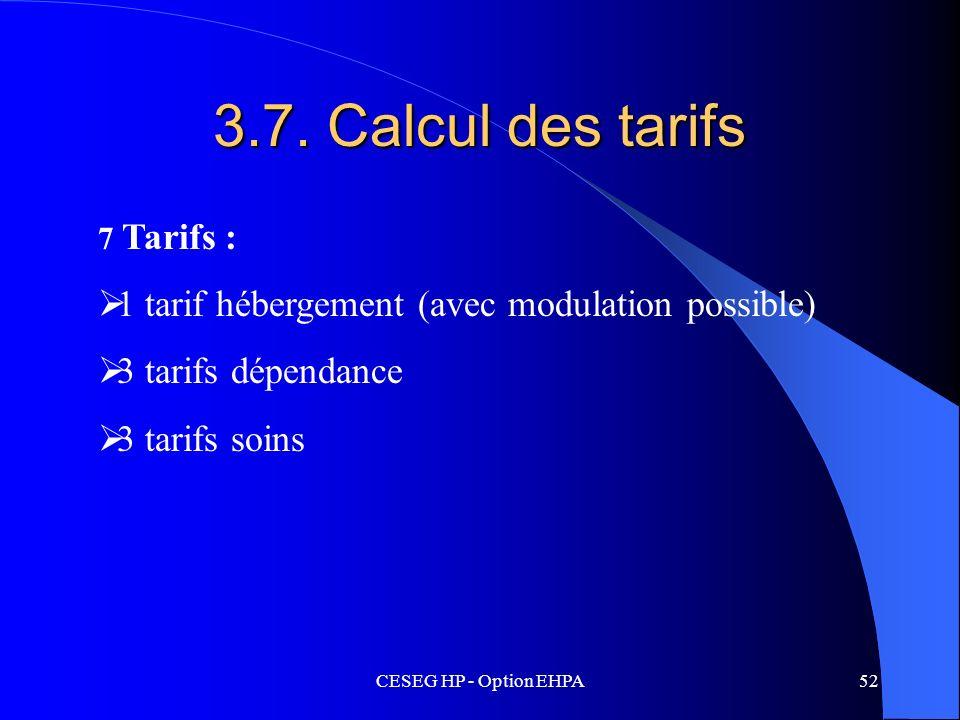 CESEG HP - Option EHPA52 3.7. Calcul des tarifs 7 Tarifs : 1 tarif hébergement (avec modulation possible) 3 tarifs dépendance 3 tarifs soins